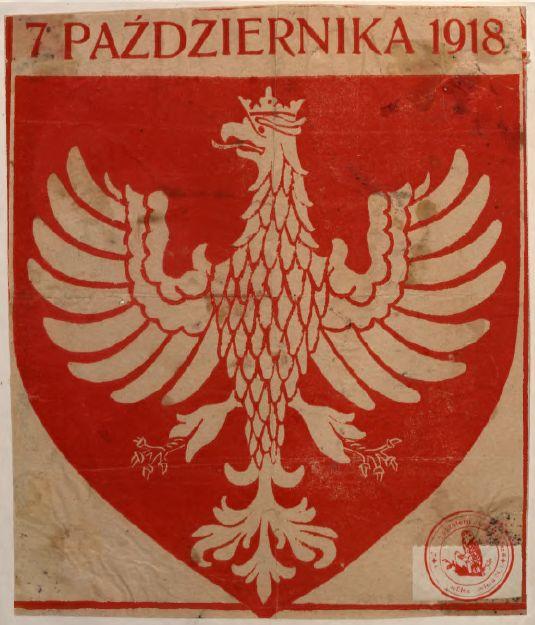 Naklejka wydana z okazji ogłoszenia przez Radę Regencyjną niepodległości Polski